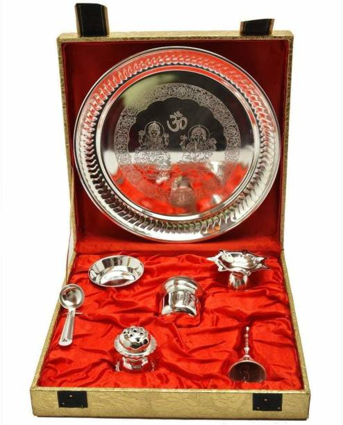 CraftVatika Decorative Silver Plated Pooja Puja Thali Set Laxmi Ganesha Embossed with Gift Box Iron