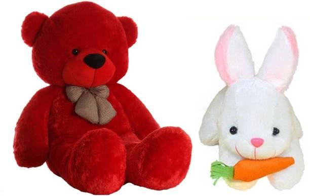 TEDDYIA Combo Offer Of 3 Feet Long Red Teddy Bear With 26 CM White Rabbit  - 91.1 cm