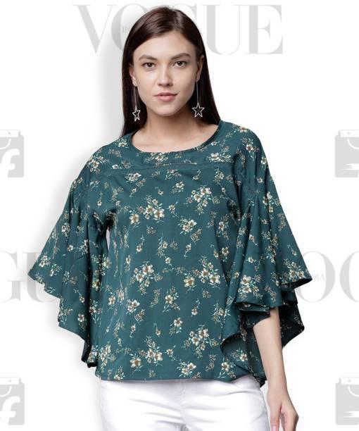 6b773582ebf Tokyo Talkies Casual Batwing Sleeve Floral Print Women Dark Green Top