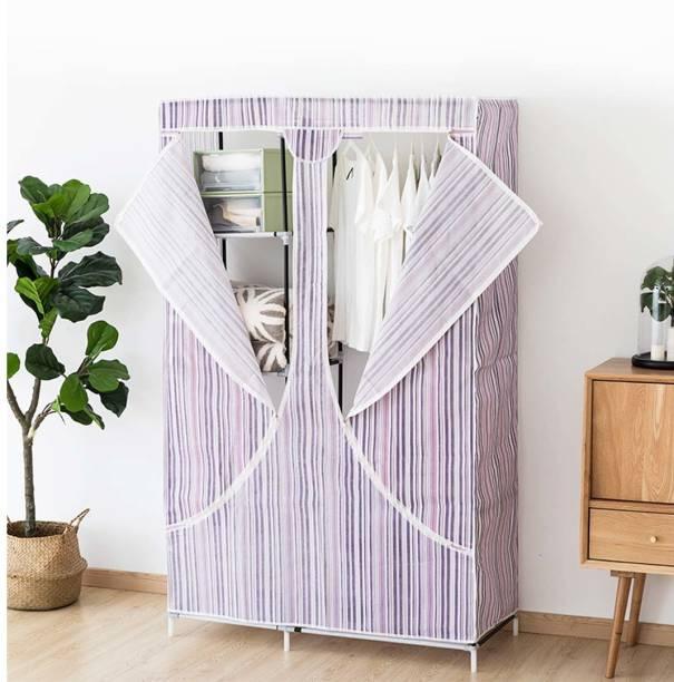Hexzone Portable Multipurpose Foldable Wardrobe 2 Doors Storage Wardrobe (Stripe) (105 * 45 * 168 cm) Stripe (1pcs) Metal 2 Door Wardrobe