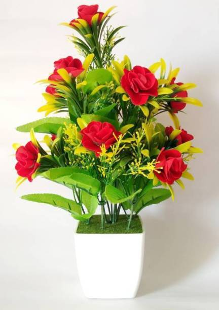 ENDECORE EN12 R F Red Rose Artificial Flower  with Pot