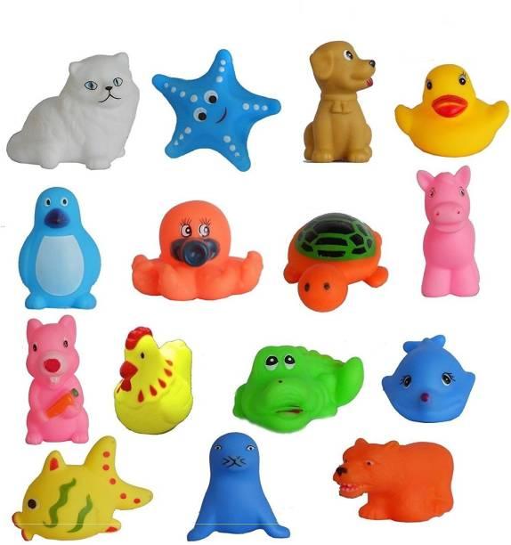 SOBERBIO 15 Pc Animal Shape Squeeze Non Toxic Chu Chu Sound Bathtub Toys For Toddler Kids Multi color Bath Toy