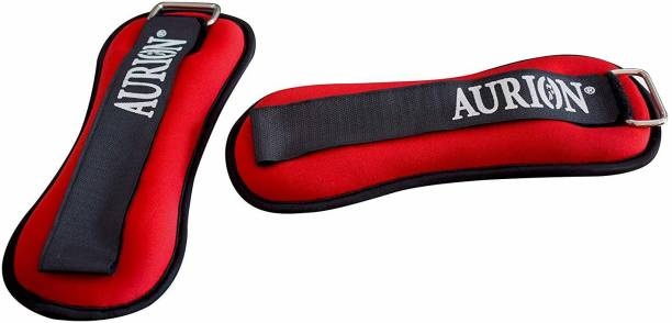 Aurion Wrist/Ankle Weights Pro Quality Adjustable 1 kg x 2 (RED) Fitness Band