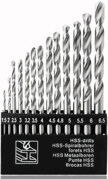 GSK Cut High-Speed Steel Drill Bit Set 13 Pieces Set for Wood, Malleable Iron, Aluminium, Plastic Etc.