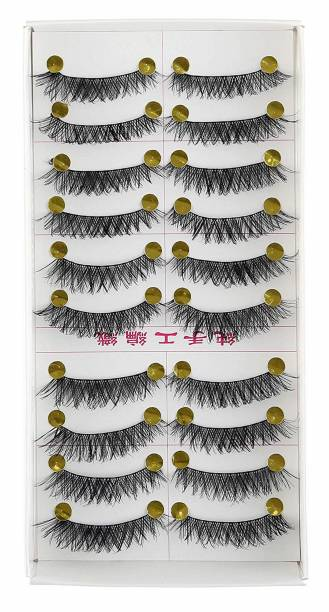 1e7b6182e6d Foolzy 10 Pair Thick Crisscross Long False Eyelashes Fake Eye Lashes  Voluminous Makeup Eyelashes