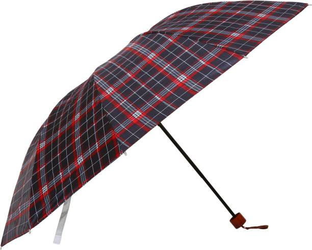 umbrella bazaar Multi Colour Check Prints 3 Fold Umbrella with cover For protection against Rains Sun & UV rays for Men, Women and Girls Umbrella