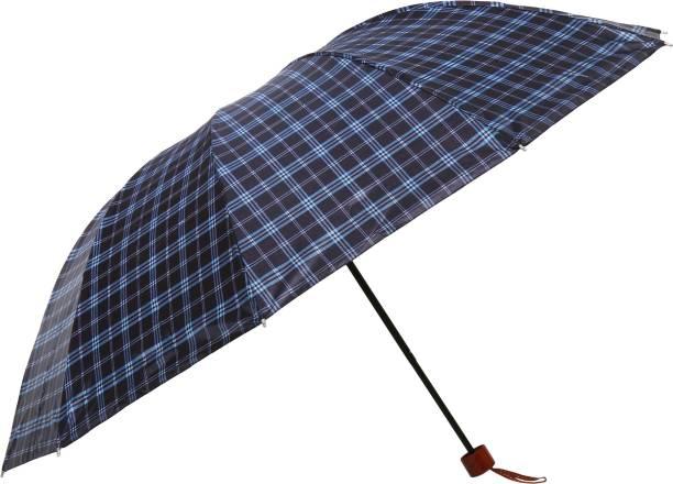 umbrella bazaar Multi Colour Check Prints 3 Fold Umbrella with cover For protection against Rains Sun & UV rays for Men, Women and Girls Umbrella