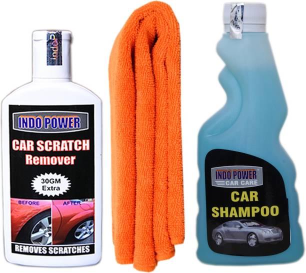 INDOPOWER CAR SHAMPOO 250ml + 1PC CAR MICROFIBER CLOTH ORANGE+ scratch remover 100gm. CW226 Vehicle Interior Cleaner