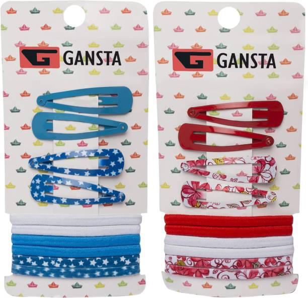GANSTA 8 PTic Tac Pins & 12 Rubber Bands Hair Accessory Set