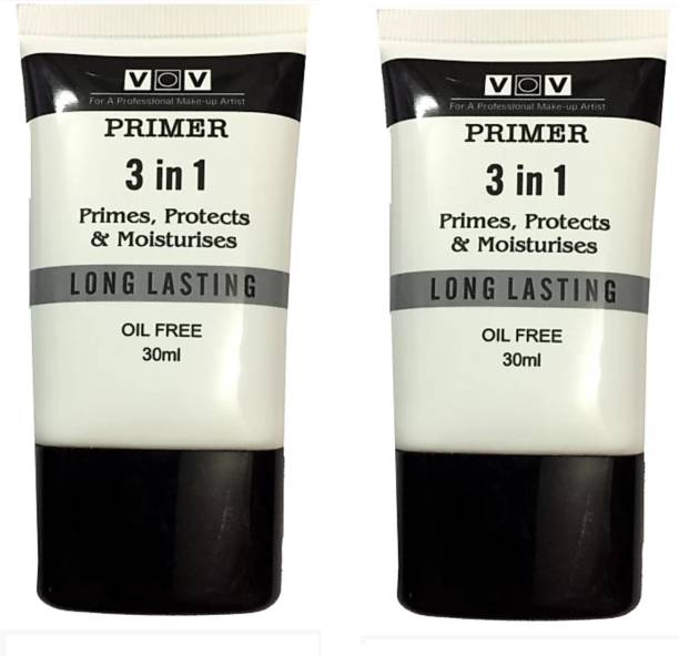 VOV 3-in-1 Primes, Protects & Moisturizes Long Lasting Oil Free Set of 2 Primer  - 30 ml