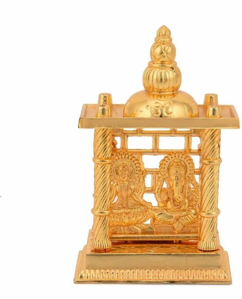 CraftVatika Metal Gold Plated Finish laxmi Ganesha Mandir Statue God Lakshmi Ganesha Sitting in Temple Decorative Showpiece Decorative Showpiece  -  15.24 cm