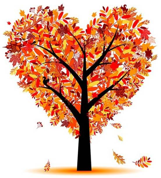 100yellow Medium Heart Leafs Tree PVC Vinyl Sticker for Living & Kids room