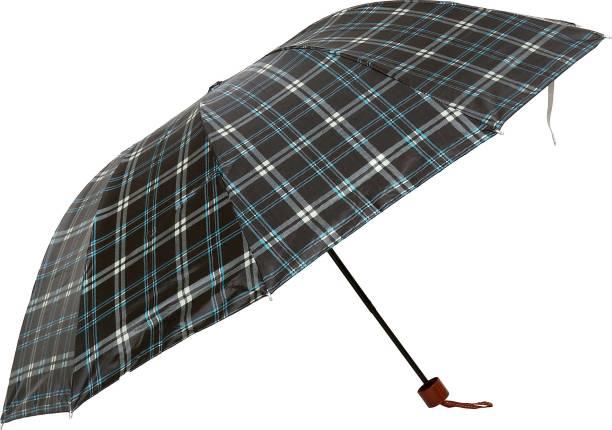 umbrella bazaar Multi Colour Check Prints 3 Fold Umbrella with cover For protection against Rains Sun & UV rays for Men Women and Girls Umbrella