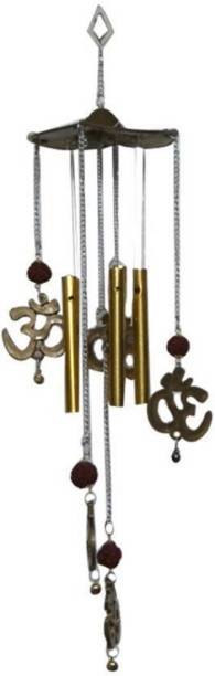 Lovely Wind Chime & Om Rudraksh 5 Pipes Brass Windchime (16 inch, Brown, Gold) Brass, Plastic Windchime