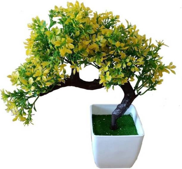 KAYKON Bonsai Wild Artificial Plant with Plastic Pot-Yellow-10 inch Bonsai Wild Artificial Plant  with Pot
