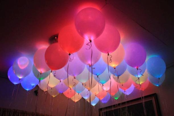 Skylofts Solid Set Of 25 LED Balloons For Party Diwali Christmas New Years Celebrations Baby