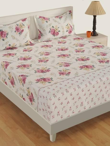 SWAYAM 250 TC Satin Double Floral Bedsheet
