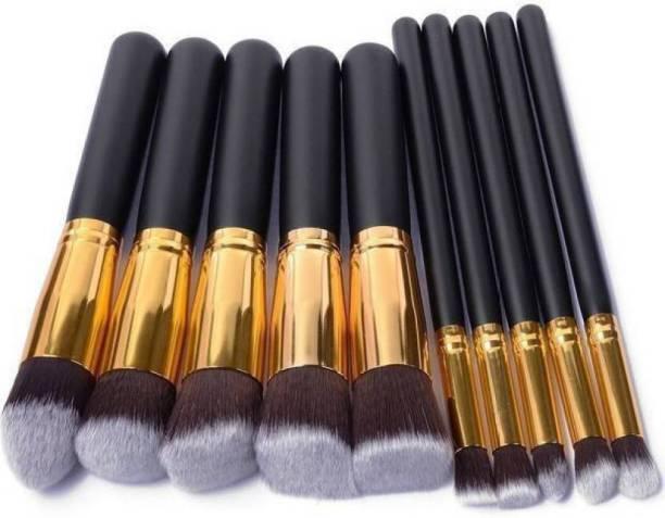 MYN Premium Synthetic Makeup Brush Set (Black) (Pack of 10)