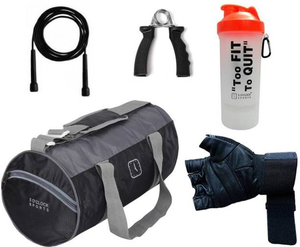 5 O'Clock Sports Combo Of Leather Black Gym Bag, Black glove, skipping rope, fitness grip, Too Fit Black Shaker Gym & Fitness Kit