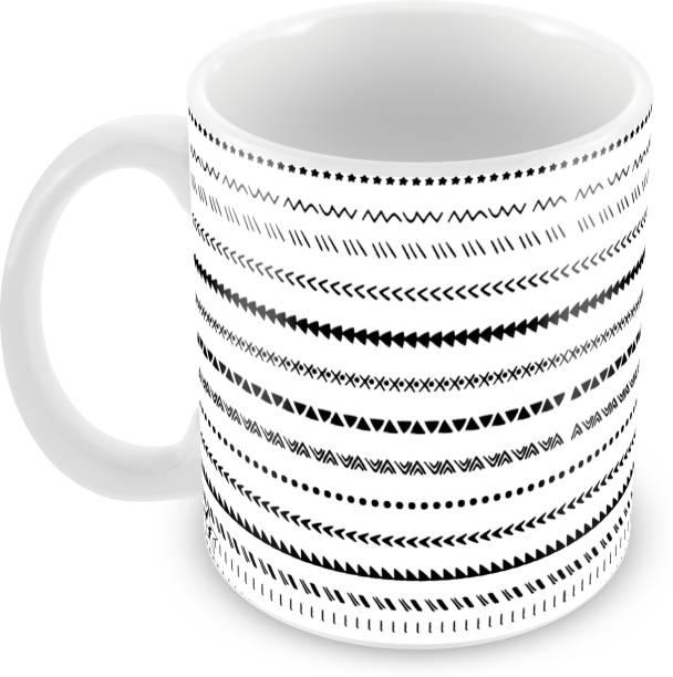 Flipkart SmartBuy White Color Pattern Printed For Tea And Coffee Ceramic Coffee Mug
