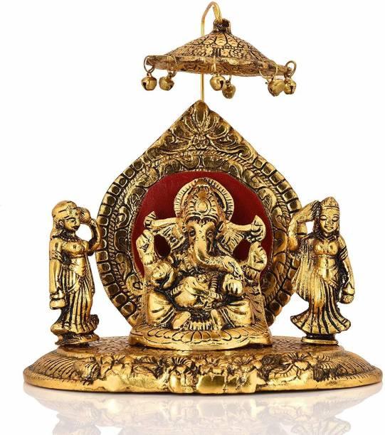 CraftVatika Metal Lord Ganesha With Riddhi Siddhi Statue Hindu God Ganesh Ganpati Sitting Idol Sculpture Decorative Showpiece Decorative Showpiece  -  15.24 cm