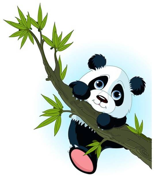 100yellow Medium Panda PVC Vinyl Sticker for Living & Kids room