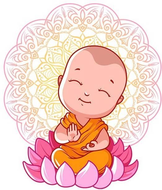 100yellow Medium Budha PVC Vinyl Sticker for Living & Kids room