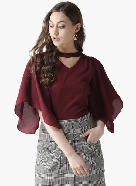 La Zoire Party Flared Sleeve Solid Women Red Top