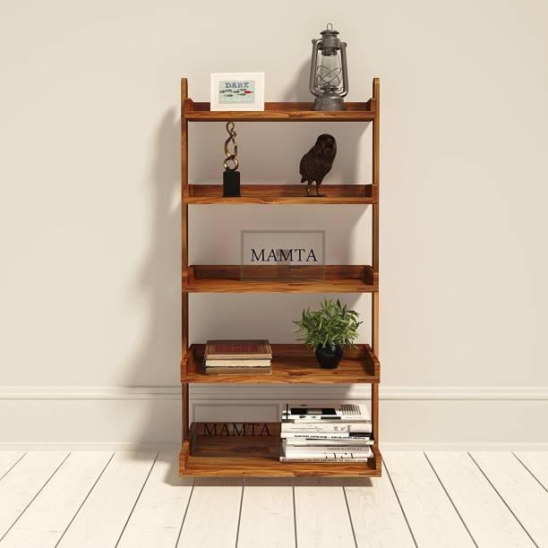 Suncrown Furniture Wooden Ladder Shape 5 Tier Book Shelf Wall Rack, Brown Solid Wood Open Book Shelf