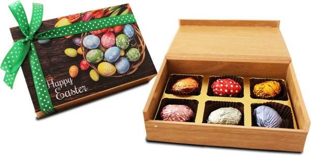 Zoroy Luxury Chocolate Easter Wooden Box of 6 chooclate Eggs Fudges