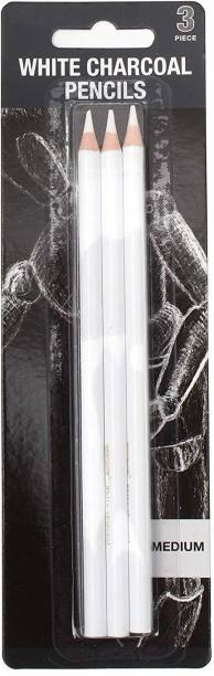 Rk 3 Pcs White Medium Charcoal Art Drawing Pencils Set, Sketching Pencils for Dark or Tinted Paper round Shaped Color Pencils