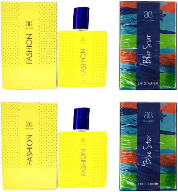 AROCHEM 2 Fashion and 2 Blue Star Perfume 100ML Each (Pack of 4) Eau de Parfum  -  400 ml