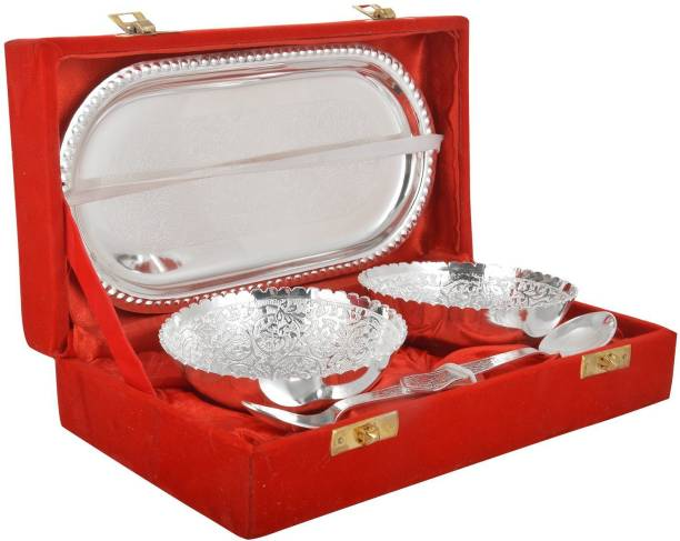 Advika Handicraft Handmade German Silver Bowl Set with Spoon and Tray for Diwali Gift Bowl, Spoon, Tray Serving Set