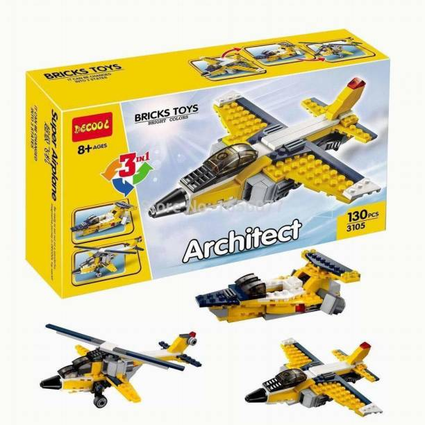 TEMSON Architect Series 3 in 1 Educational Racing Car Blocks Learning Bricks Toy for Kids (Super Airplane - 130 Pcs) (3105)