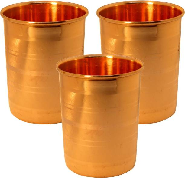 Indian Craft Villa (Pack of 3) Handmade Solid Pure Copper Luxury Glass Set Of   3  Each-Volume 250 ML   For use Drinking Water Restaurant Home Hotel Glass Set
