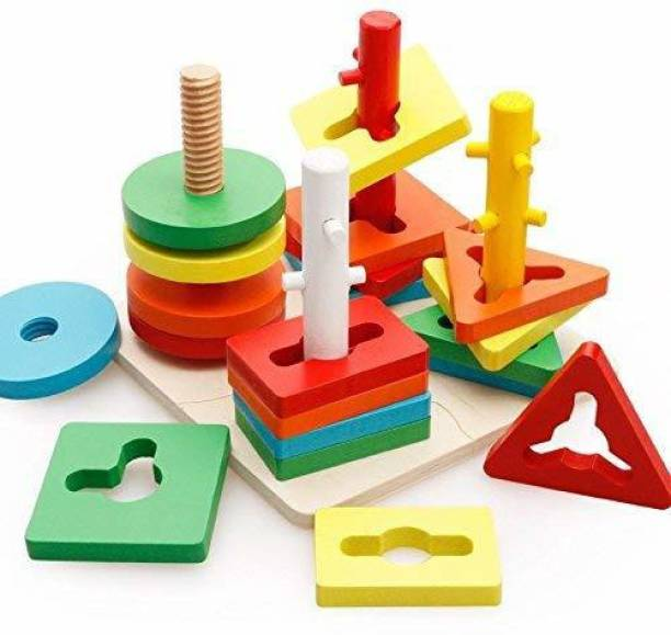 TEMSON Wooden Blocks Geometric Shape Matching Four Sets of Column Learning Education Puzzle Game Toy for Kids Block Wise Disk Four Column Set Wooden Puzzle Montessori Geometry Match Intelligence Game Building Blocks Wooden Educational Toy (Multicolor)
