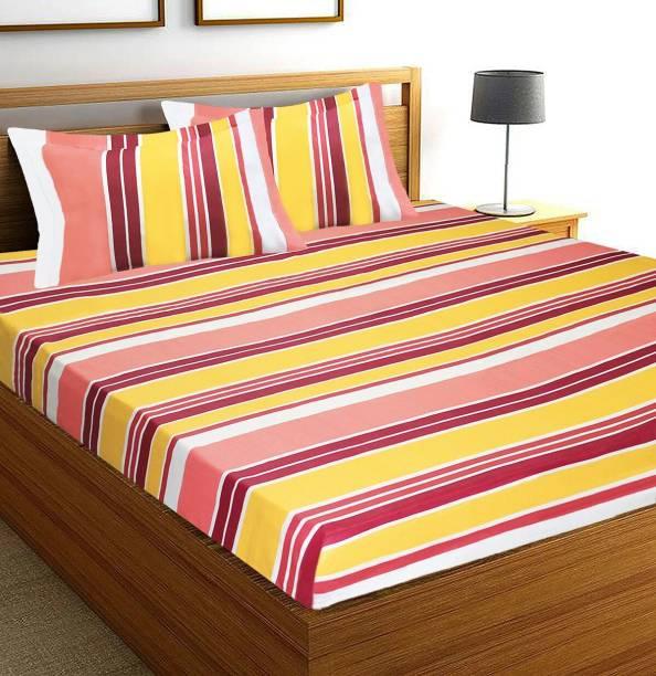 Flipkart SmartBuy 144 TC Cotton Double Striped Bedsheet