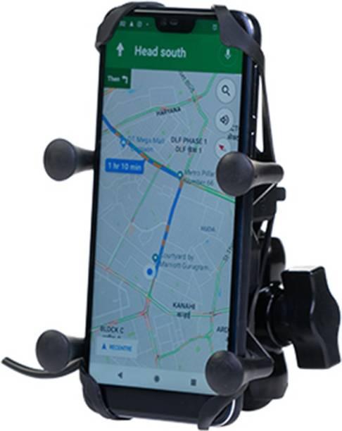 GrandPitstop X Grip 360 Degrees Mobile Holder with Adjustable Handlebar & Mirror Adjustable Mount for CBR Motorcycle with USB Charging Point Bike Mobile Holder