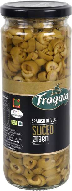 Fragata Spanish Olives Sliced Green (Ideal for Pizzas and Salads) Olives & Peppers