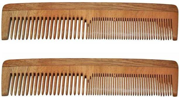 BLITHE Pack of 2 Anti Hair-Fall Neem Wood Hair Comb Hand made Anti-Dandruff Comb, For Men & Women (Pack of 2)