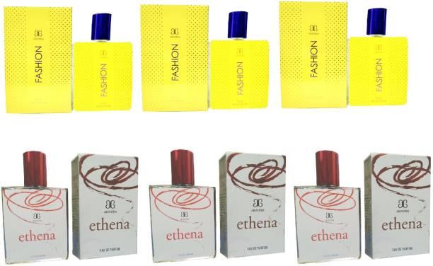 AROCHEM 3 Fashion and 3 Ethena Perfume 100ML Each (Pack of 6) Eau de Parfum  -  600 ml