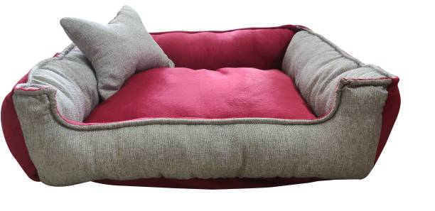 Hiputee Soft Reversible Jute Velvet Rectangular Grey Red Dog/Cat Bed (FOR SMALL BREEDS) Small S Pet Bed