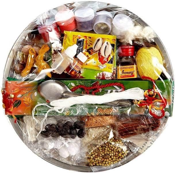 ME&YOU All in One Puja Kit Thali for Navrata Pujan, House Warming Puja Kit, Durga Hawan Puja, Diwali Laxmi Pujan, Ganesh Pujan IZ19PujaThaliPack31-001 Steel