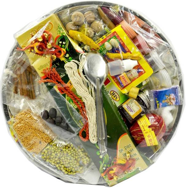 ME&YOU All in one Puja kit Thali of 31 ingredients for Chaitra Navratri, Durga ashtmi, Diwali, kali poojan, Sharad Navratri lakshmi poojan, Ganesh pooja, Gauri poojaIZ19PujaThaliPack31-007 Steel