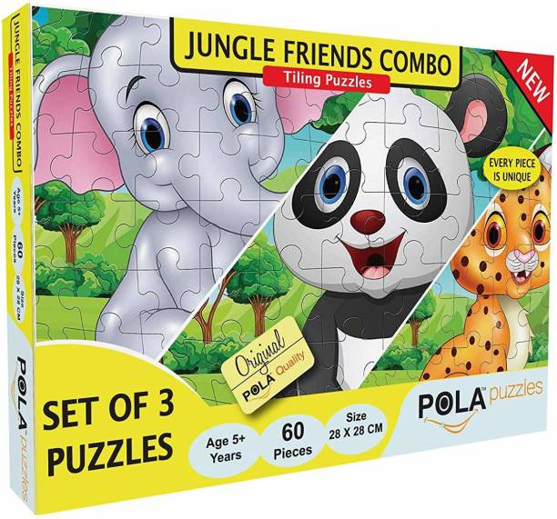 Pola Puzzles Jungle Friends Puzzle Combo 3 in 1 Gift Pack 60 Pieces Tiling Puzzles (Jigsaw Puzzles, Puzzles for Kids, Floor Puzzles), Puzzles for Kids Age 5 Years and Above. Size: 28 cm X 28 cm
