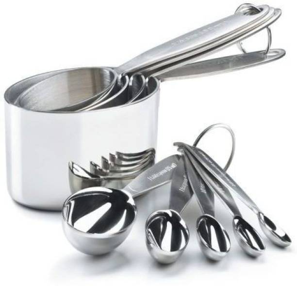 Kitchen Delli Kitchen Delli Set of 4 Heavy Measuring Cup and 4 Measuring Spoon Steel Measuring Spoon Set