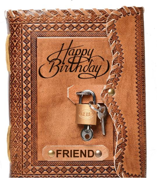 DI-KRAFT Friend Embossed Happy Birthday Gift Handmade Paper Diary with Lock A5 Diary unruled 200 Pages