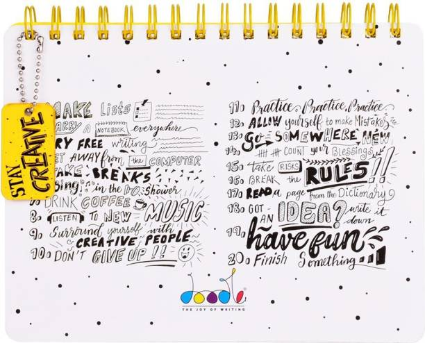 doodle Stay Creative Wiro Bound Dual Regular Note Pad Ruled + Blank 160 Pages