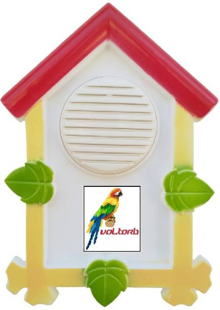 VOLtORb - SWEET HOME Parrot Door Bell - Single Parrot Tune - Multi Color - Special House Shape - Glossy Finish - 1 Piece Wired Door Chime