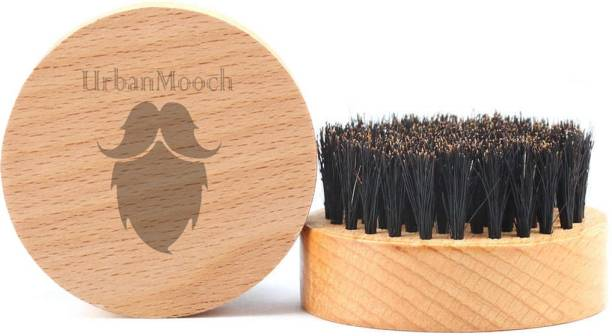 UrbanMooch 100% Boar Bristle with Beechwood Handle Round Beard Brush & Mustache Brush